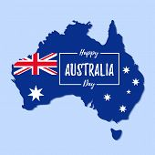 Australia Day. Vector. Happy Australia National Day Banner With Australian Map And Flag. Greeting Ca poster