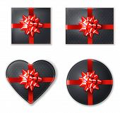 Black Giftbox Set With Red Bow Vector Realistic. Product Placement Mock Up. Design Packaging 3d Illu poster