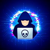 Vector Illustration Computer Black Hoodie Hacker Spread A Net - Trying Cyber Attack On Laptop With G poster