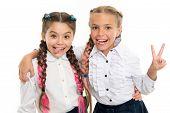 On Same Wave. Schoolgirls Wear Formal School Uniform. Sisters Little Girls With Braids Ready For Sch poster