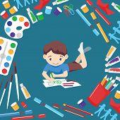 Art Studio Vector Boy Character Studying In Kids Art-school With Artist Tools Watercolor Paint Brush poster