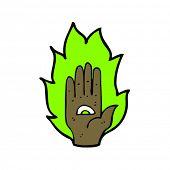 psychic symbol hand cartoon