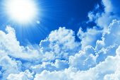 Beautiful Blue Sky White Cloud And Sunshine. Religion Concept Heavenly Background. Divine Heavenly L poster