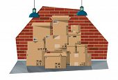 Warehouse Interior With Goods And Container Package Boxes. Pile Cardboard Boxes Set. Carton Delivery poster