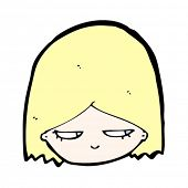 cartoon blond girl head with suspicious expression