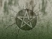 pic of pentagram  - pentagram symbol on stone background  - JPG