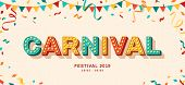 Carnival Card Or Banner With Typography Design. Vector Illustration With Retro Light Bulbs Font, Str poster