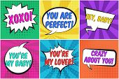 Cute St. Valentines Retro Comic Speech Bubbles Set With Colorful Hey Baby, Xoxo, Crazy About You Tex poster