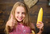 Kid Farmer With Harvest Wooden Background. Harvest Festival Concept. Girl Kid At Farm Market With Or poster
