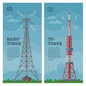 Tower Vector Global Skyline Towered Antenna Construction In City And Skyscraper Building With Networ poster
