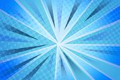 Halftone pattern and blue striped rays background poster