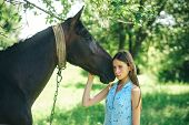 Having The Truest Friend. Adorable Horse Owner With Her Pet. Young Woman With Horse On Summer Landsc poster