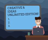 Writing Note Showing Creative And Ideas Unlimited Edition. Business Photo Showcasing Bright Thinking poster