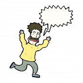 cartoon terrified man running