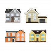 Set Of Houses Front View In Flat Style Isolated On White Background. Collection Of Icons Of  Suburba poster