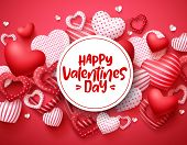 Valentines Day Vector Hearts Background Template. Happy Valentines Day Greeting Text In White Space  poster