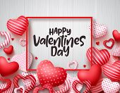 Valentines Day Vector Banner Background. Happy Valentines Day Greeting Text With Red Hearts And Boar poster