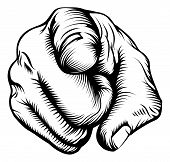 stock photo of human-rights  - Retro black woodcut print style hand pointing finger at viewer from front - JPG