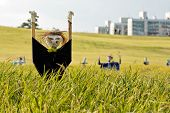 stock photo of hobgoblin  - Scarecrow on the rice field during Chuseok korean traditional holiday - JPG