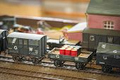 stock photo of railroad yard  - freight train detail on a model railway - JPG