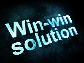 Business concept: pixelated words Winwin solution on digital scr