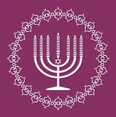 Jewish Menorah Holiday Background , Vector Illustration