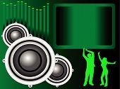 Green Musical Speakers Illustration