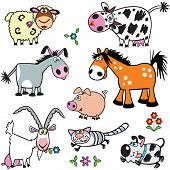 image of baby pig  - cartoon farm animals - JPG