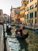 Gondolas In One Of The Canals In Venice
