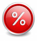 Percent red button - design web icon