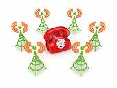 Stylized antennas around red telephone.