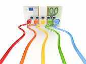 Colorful patchcords connected to pack of euro.