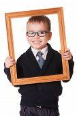 Smiling Clever Boy In Wooden Frame