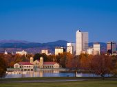 stock photo of landforms  - Sunrise over downtown Denver in late Autumn - JPG