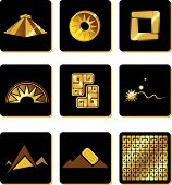 Set Of Elements In The Style Of Gold Of The Incas.
