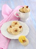 Almond Cookies With Slivered Almond On A Top