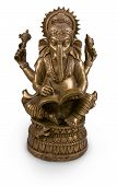 image of ganapati  - Old brass statuette of hindu God Ganesha or Ganapati or Vighnanayaka with book isolated on white - JPG