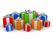 picture of christmas-present  - 3d rendered illustration of some colorful christmas presents - JPG