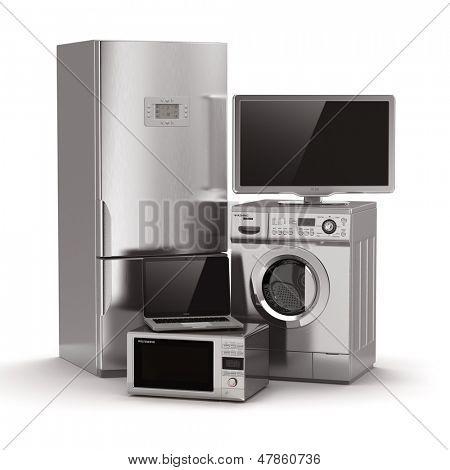 Постер, плакат: Бытовая техника Телевизор Холодильник Микроволновая печь ноутбук и мытья maching 3D, холст на подрамнике