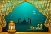 Glowing lamp on Eid Mubarak background
