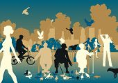 Editable vector illustration of people feeding pigeons in a busy urban park