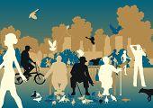 Ilustración editable vector de gente alimentando palomas en un parque urbano ocupado