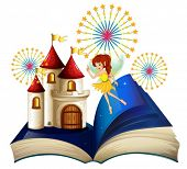 Illustration of a storybook with a flying fairy near the castle with fireworks on a white background
