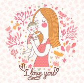 Cute vector card with mother and child in flowers and butterflies. Mothers day postcard design. Vector floral background with mama and son. I love you.