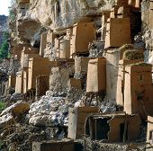 stock photo of dogon  - Old granaries Dogon village Teli Mali - JPG