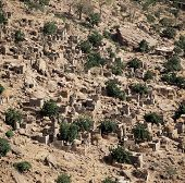 picture of dogon  - Traditional Graineries in Dogon village Lower Idjeli Mali, West Africa