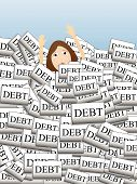 pic of debenture  - Person sinking down overcome by too much - JPG