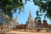 Old and ruined stately Chedi (Sri Lankan-styled stupas) at The largest temple in Ayutthaya - Wat Phr