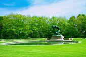 Lazenki park with Chopin statue, Warsaw