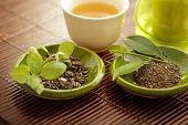 image of black tea  - healthy green tea cup with tea leaves - JPG